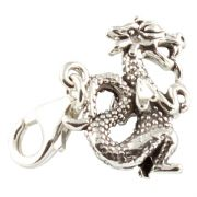 Chinese Dragon 3D Sterling Silver Clip On Charm - With Clasp